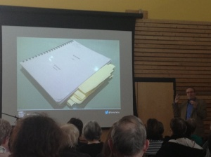 "The manuscript of ""Up and Down"" with Marc Garneau's sticky notes."