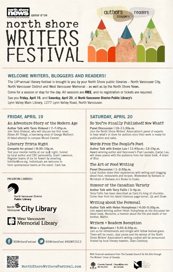 North Shore Writers Festival 2013 poster